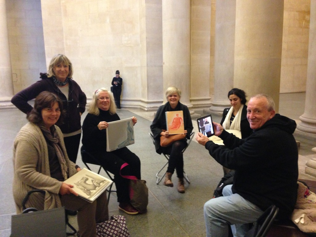 A group enjoying drawing lessons london - The Fundamentals of Drawing Part 2 at Tate Britain