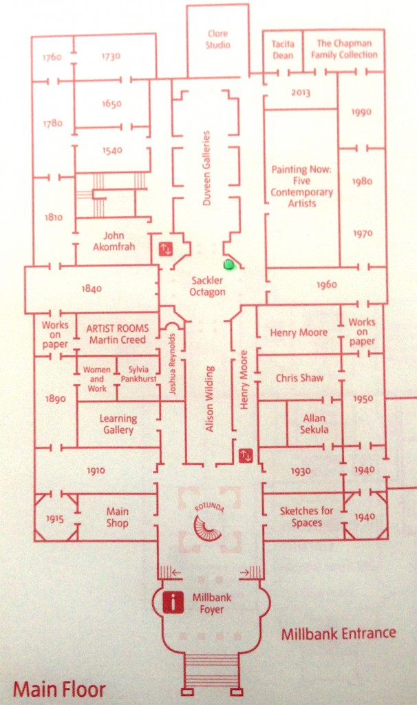 Map of Tate Britain, for drawing classes