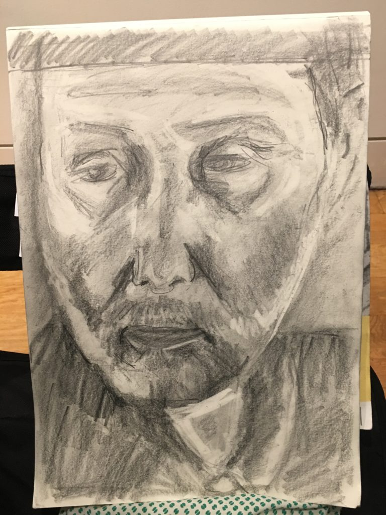 Student portrait drawing done at the NPG london